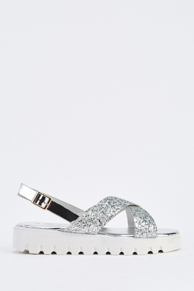 Glittered Crossed Over Sandals
