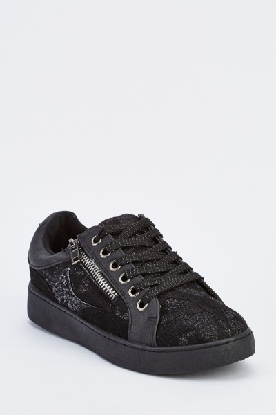 Glittered Lace Contrast Trainers