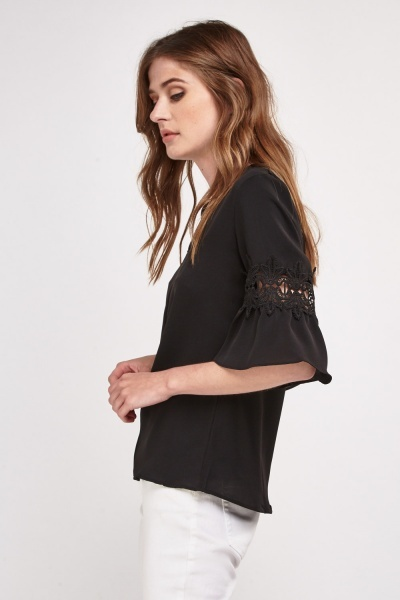 Crochet Insert Sheer Blouse