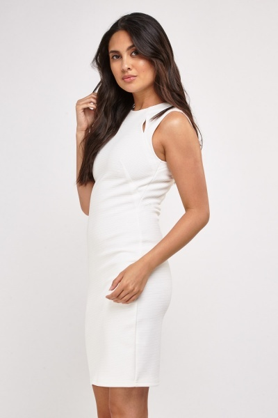 Cut Out Textured Midi Dress