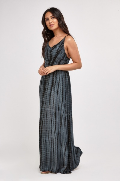 Embroidered Tie Dye Maxi Dress