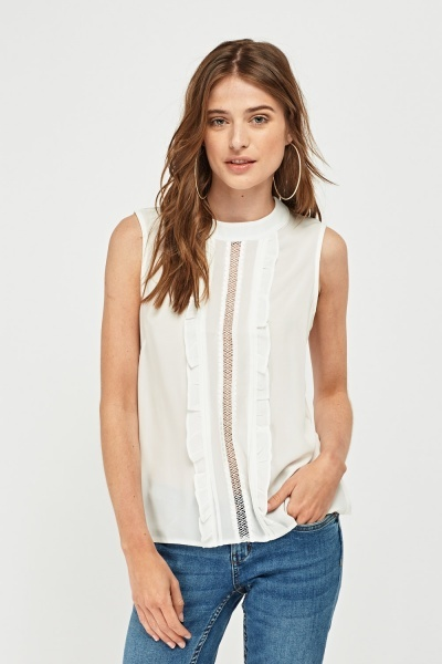 Frilly Bip Front Chiffon Top