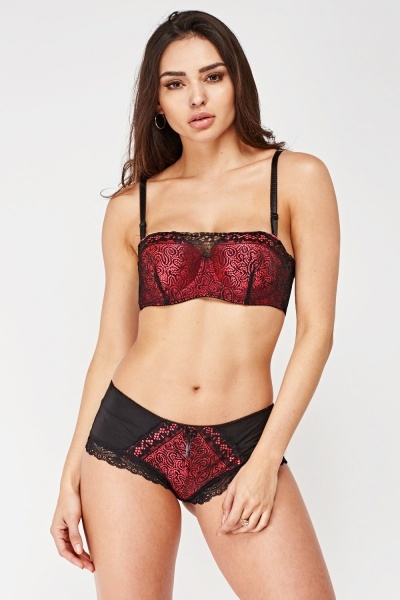 Lace Overlay Soft Cup Bra And Brief Set