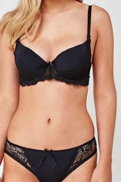Lace Trim Bullet Bra And Brief Set