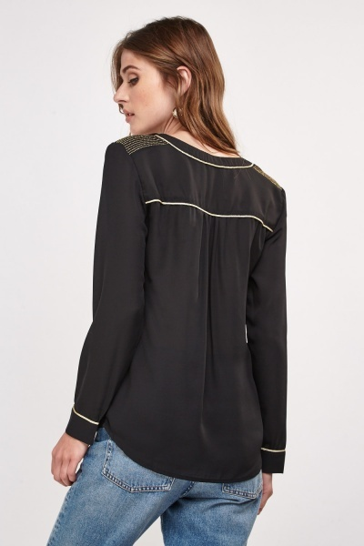 Metallic Stitched Sheer Blouse