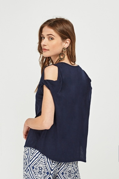 Pack Of 2 Basic Knotted Cold Shoulder Tops