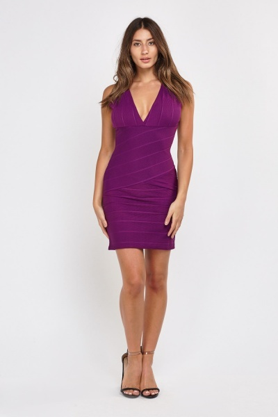 Plunge Bandage Mini Dress