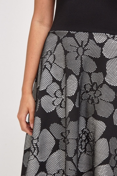 Textured Net Detail Skater Dress