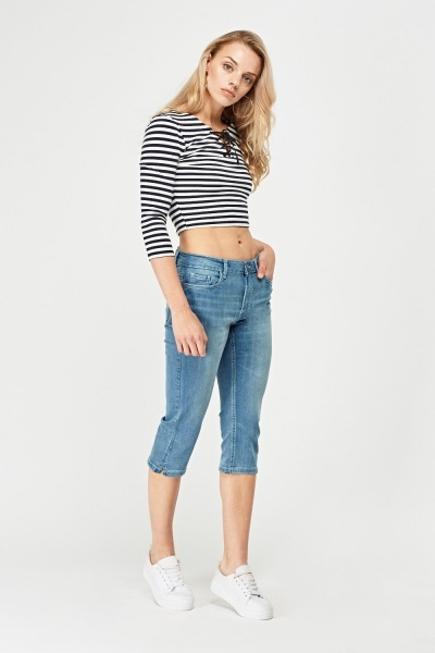 3/4 Cropped Denim Jeans