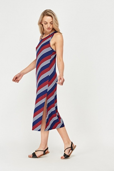 Asymmetric Striped Basic Dress