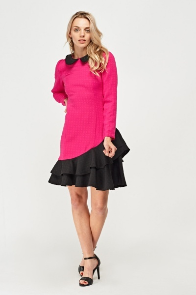 Contrast Peter Pan Collar Dress