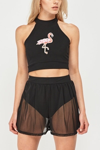 Flamingo Applique Crop Mesh Top And Shorts Set