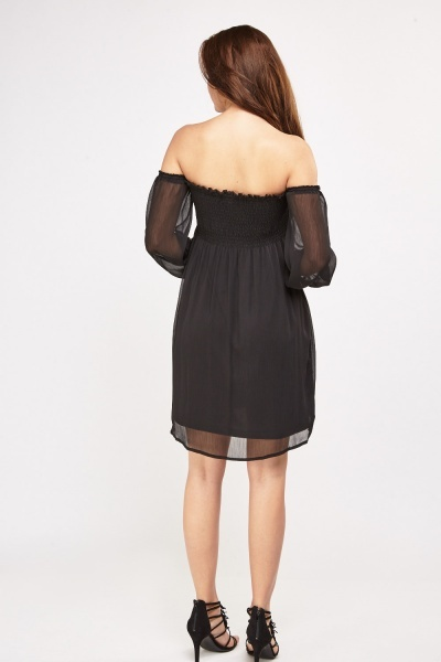 Gathered Sheer Off-The Shoulder Dress