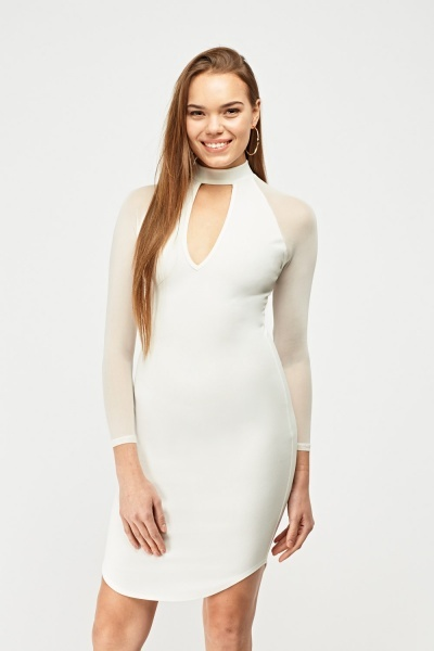 Keyhole Mesh Sleeve Dress