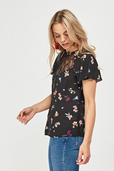Printed Lace Insert Blouse