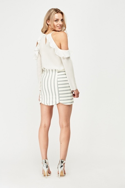 Stripe Mini Scallop Skirt