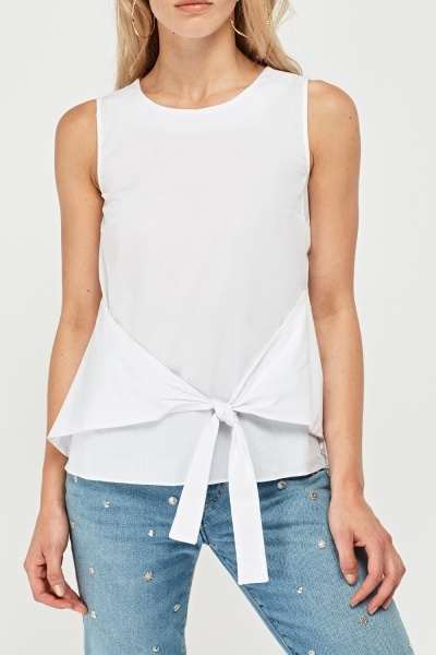 Tie Up Front Sleeveless Top