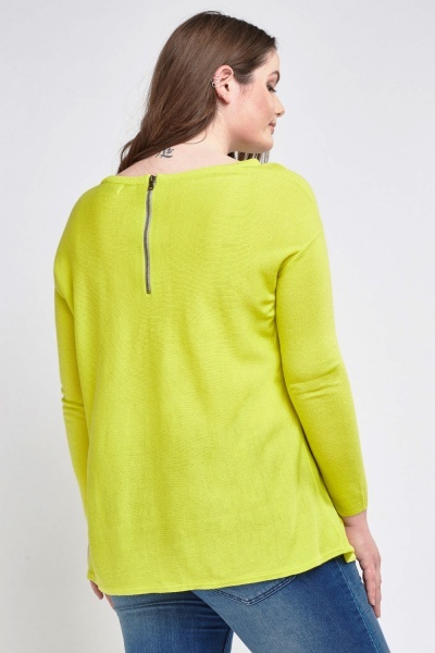 Zipped Back Thin Knitted Jumper
