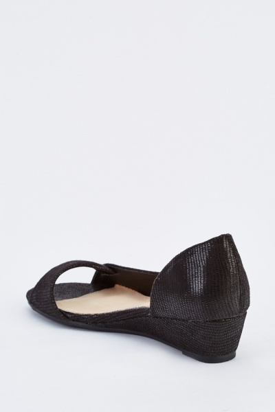 Cut Out Side Wedge Shoes