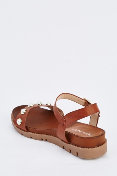 Embellished Faux Leather Flat Sandals
