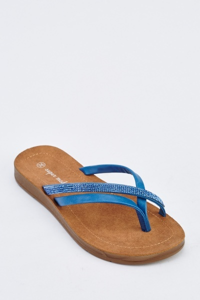 Embellished Faux Leather Flip Flops