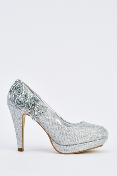 Embellished Lurex Pump Heels