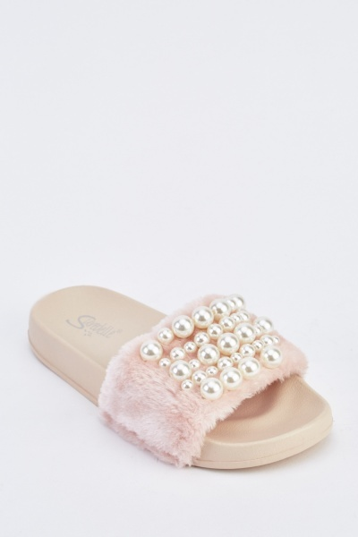 Faux Pearl And Fur Insert Sliders
