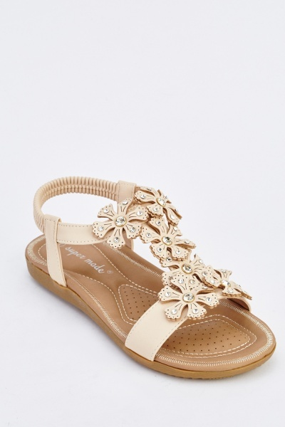 Flower Encrusted Slingback Flat Sandals
