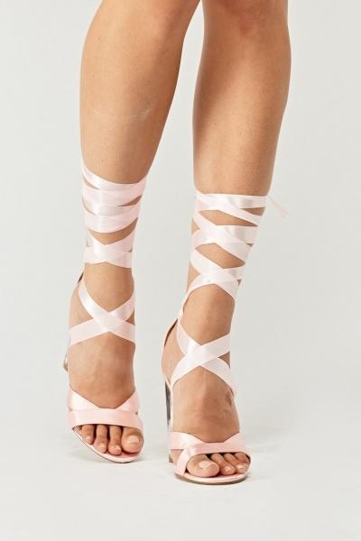 Tie Up Ribbon High Heel Sandals Pink Just 163 5