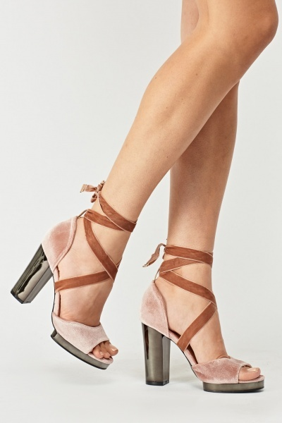 Velveteen Block Tie Up Heels