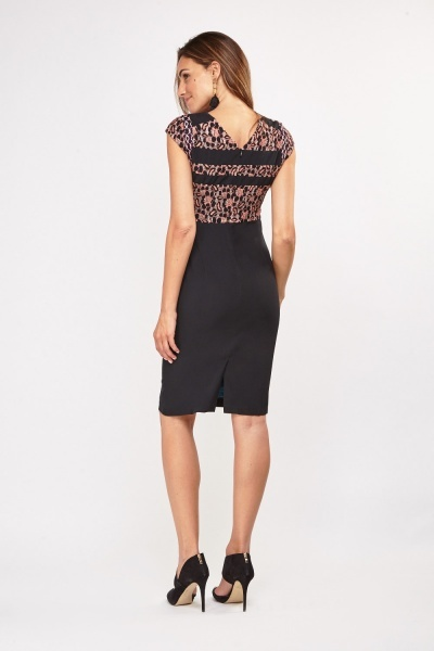 Lace Contrast Midi Pencil Dress