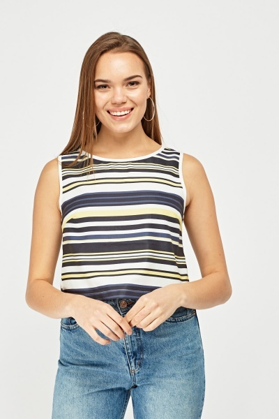 Multi Striped Cropped Top