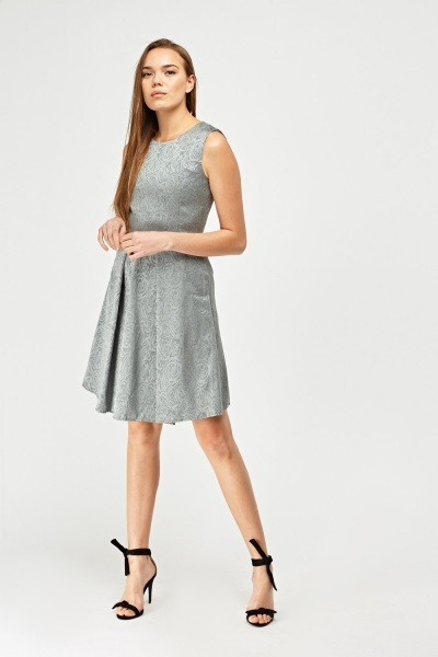 Textured Jacquard Skater Dress