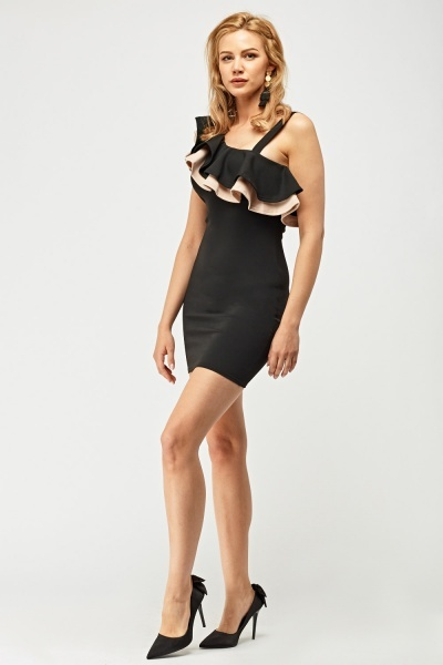 Double Ruffle Overlay Bodycon Dress