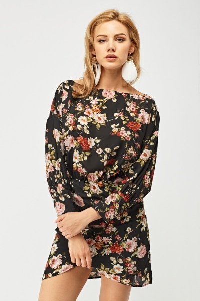 Flower Print Ruched Side Dress
