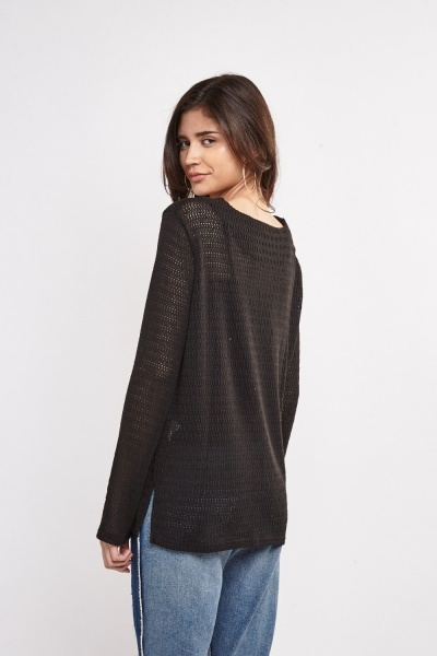 Lace Up Terry Knit Top