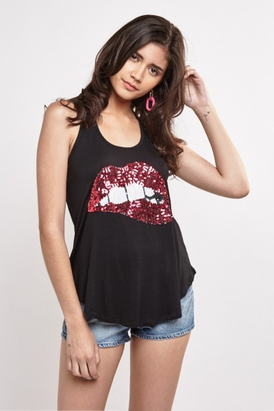 Sequin Embellished Tank Top