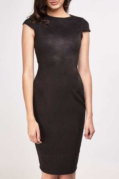 Suedette Midi Pencil Dress