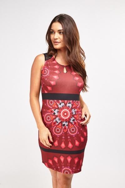 Arabesque Print Contrast Midi Dress