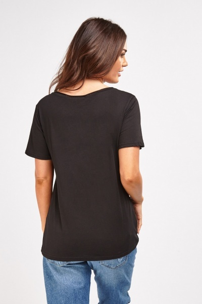 Distressed Graphic Front T-Shirt