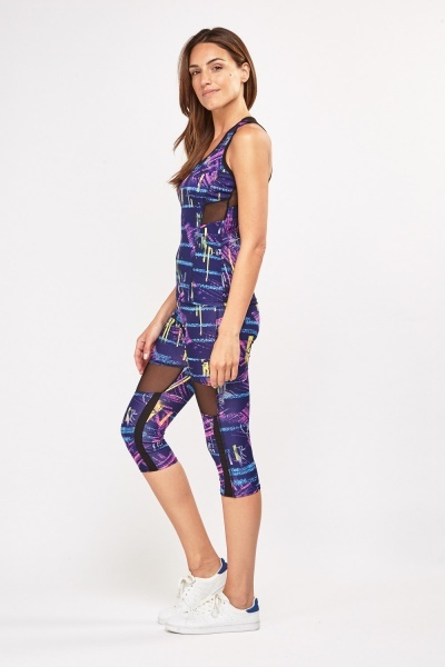 Graffiti Print Sports Tank Top And Capri Leggings Set