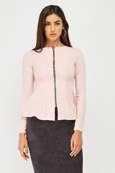Long Sleeve Zip Up Peplum Top