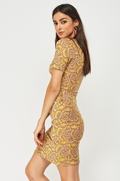 Printed Ruched Wrap Dress