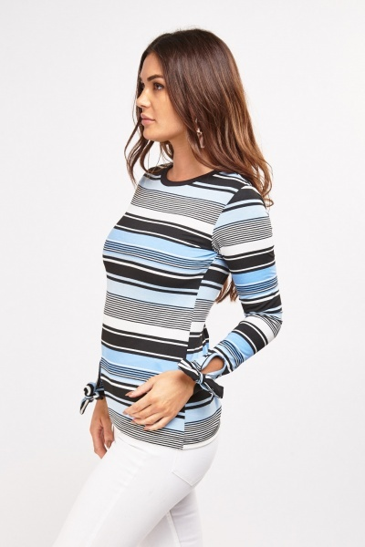 Striped Long Tie Up Sleeve Top