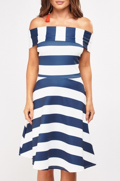 Striped Off Shoulder A-Line Dress