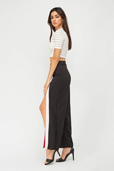 Striped Slit Front Wide Leg Trousers