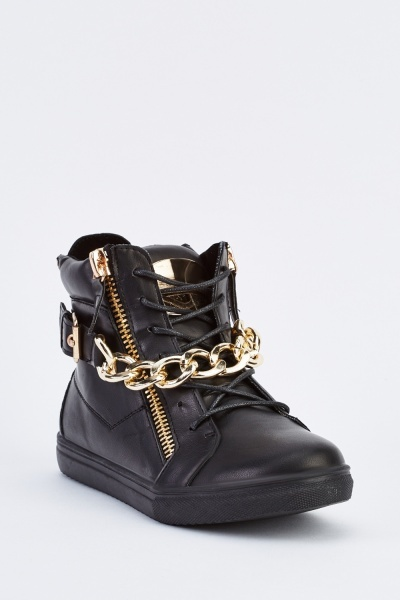Buckle Chain Detailed high Top Trainers