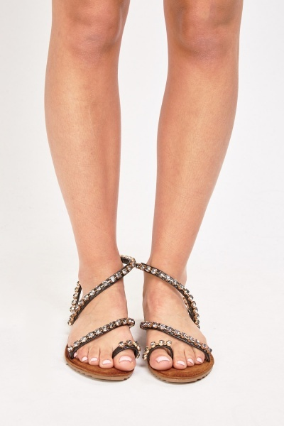 Embellished Spiral Flat Sandals