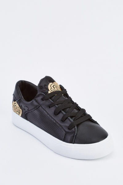 Embroidered Detail Low Top Trainers