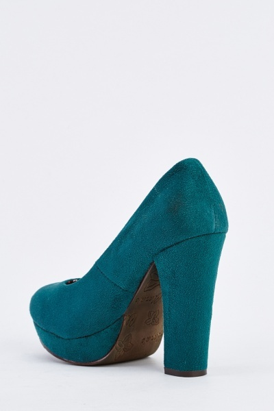 Faux Suedette Heeled Court Pumps